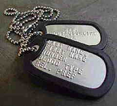 Two army dog tags with fancy silencer & ID chain